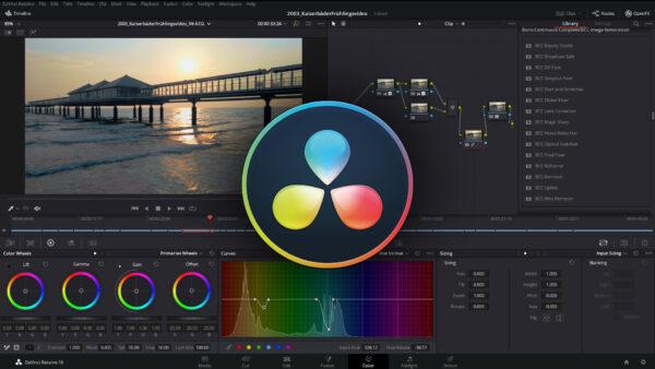 Das Programm DaVinci-Resolve in action beim Videoschnitt und Postproduktion